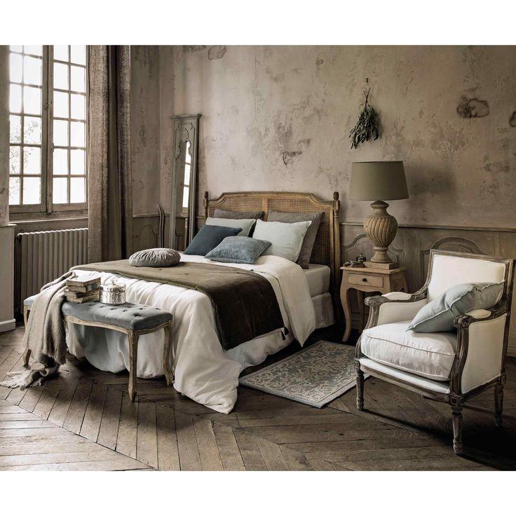 Divanetto imbottito grigio in cotone L 112 cm CLOTHILDE | Maisons du Monde