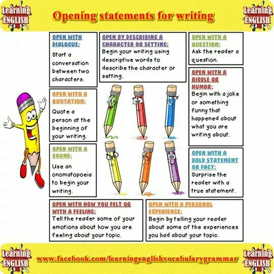 Best English Writing Images On Pinterest  English Writing  Opening Statements For Writing  Learning English