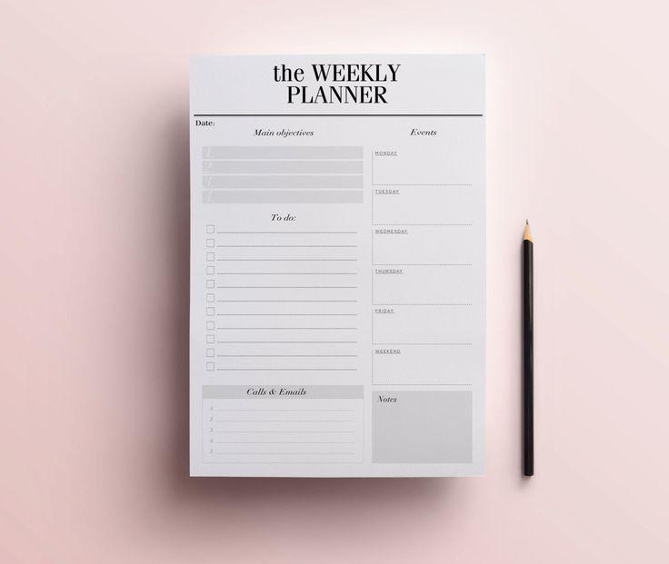 Printable weekly homework planner