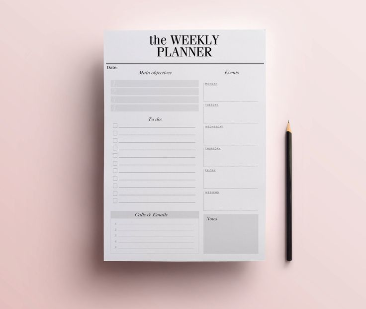 Weekly Planner Printable - Detailed Week in Review Desk Pad / Planner Page with…