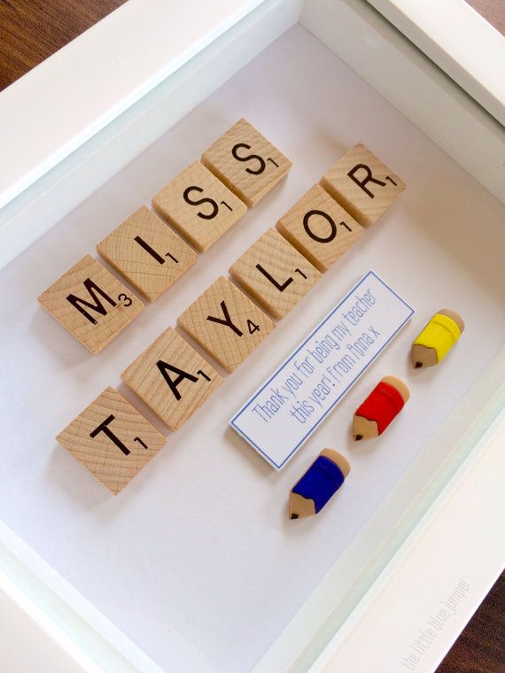 Teacher's Gift Personalised Scrabble Style by TheLittleBlueJumper