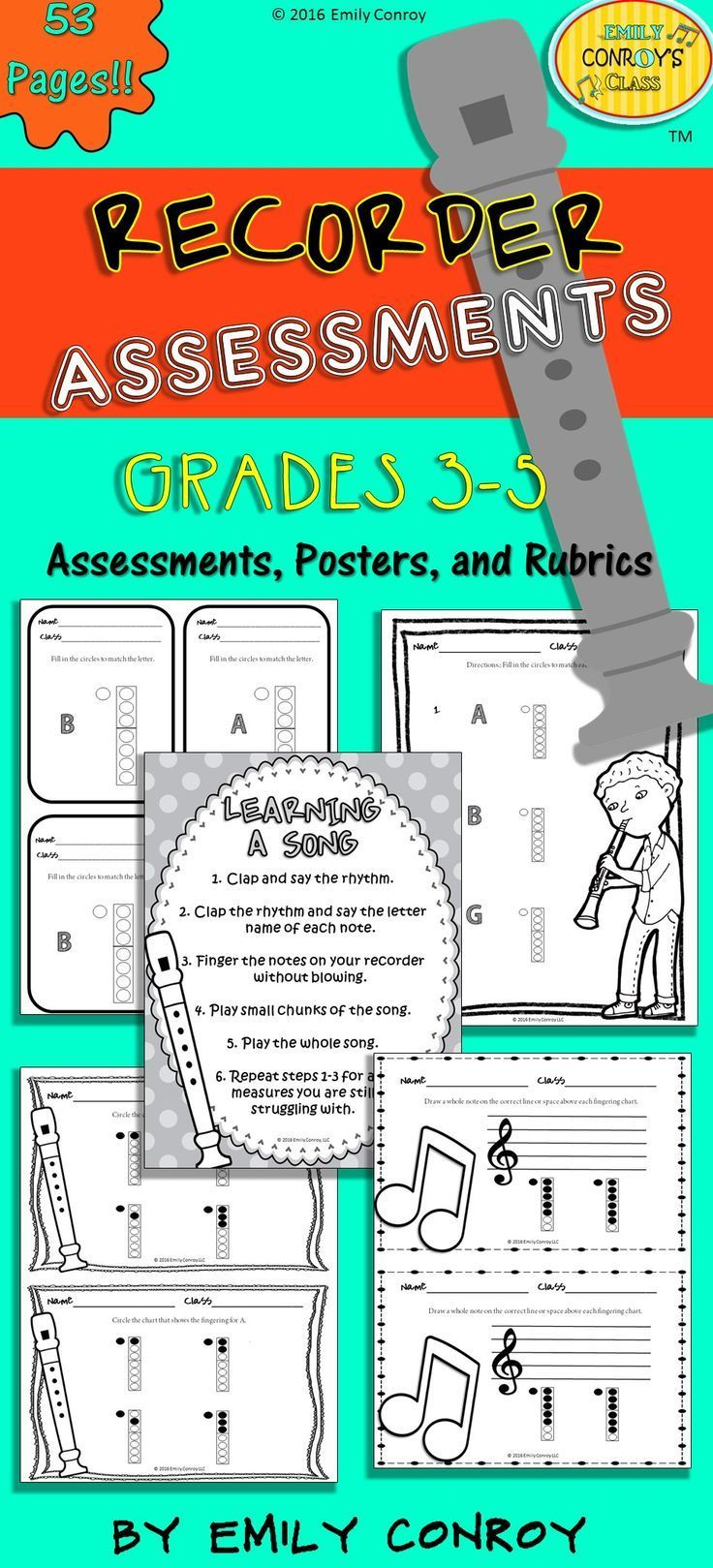 Recorder Assessments for elementary music includes assessments, posters, and a rubric to aid teachers in evaluating student understanding of how to finger and play the recorder.