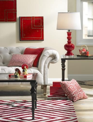 Use Bright Accents To Create A Stylish Red Living Room