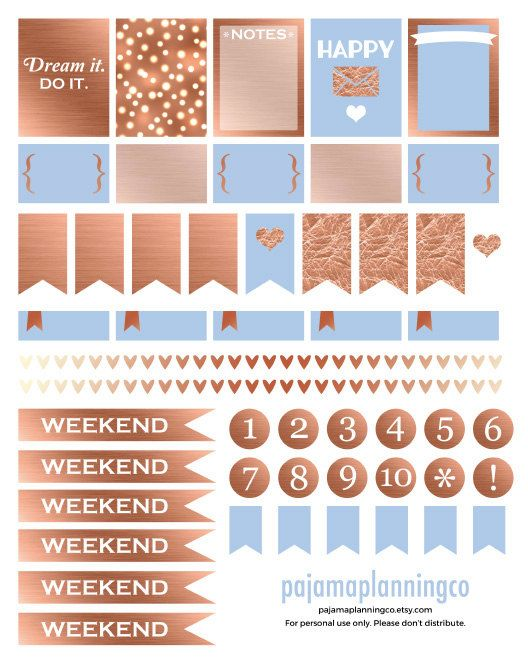 Printable Rose Gold Stickers \\ INSTANT DOWNLOAD for photo-quality printers \\ Great for your Erin Condren Planner