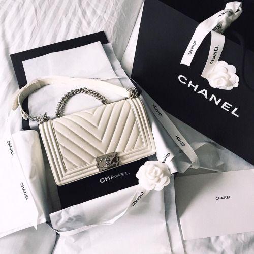 white chanel boy bag. love.