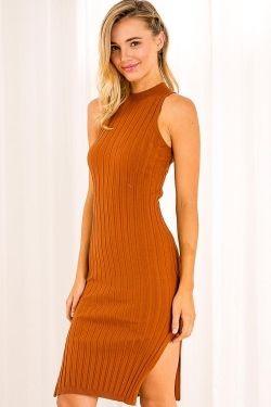 Orange Cider Womens Ribbed Dress - Brown -SALE