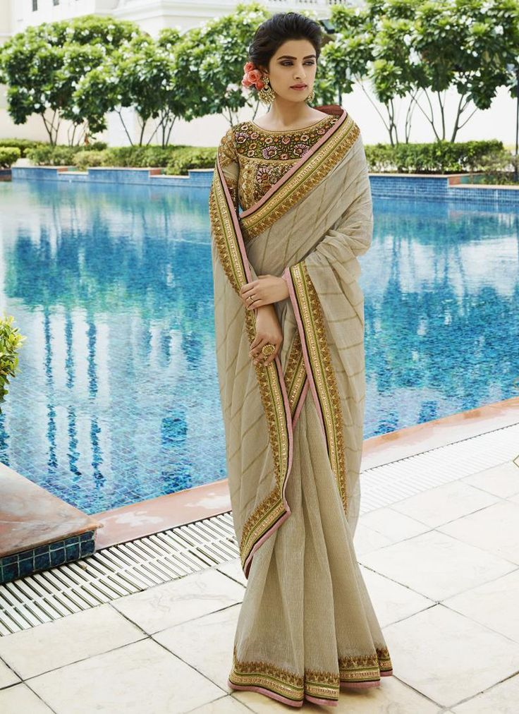 Baronial Embroidered Work Beige Traditional  Saree