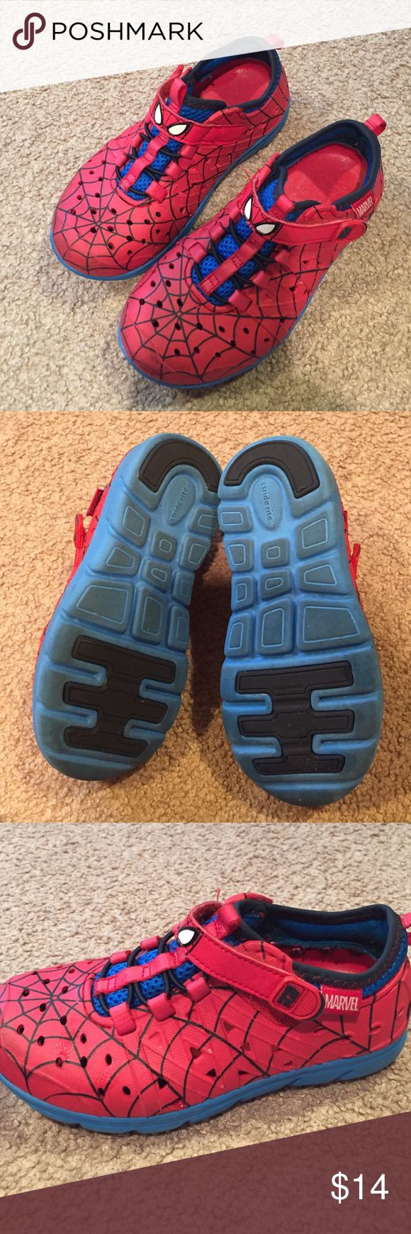 Stride Rite Phibians Marvels Spider man Phibians! Only worn a few times! Washable, perfect summer shoe! Can be worn in the water, yet stable enough for running at the playground! Wish my son didn't grow out of these! Stride Rite Shoes