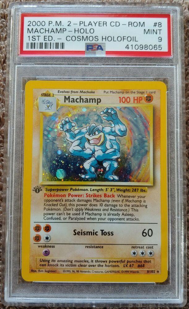 PSA 9 MINT Machamp 8/102 1st Edition Cosmos HOLO Rare 2000