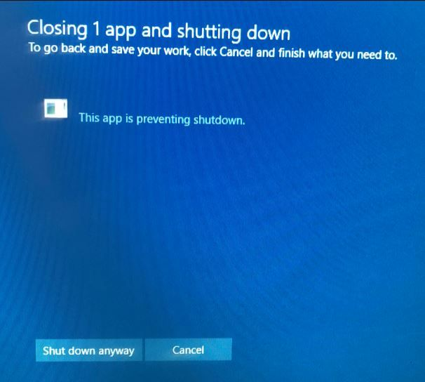 Solved: This app is preventing shutdown Windows 10 | Windows