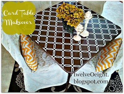 #DIY #Table #Card Table Makeover.  How to redo your card table @ http://twelveoeight.blogspot.com/2012/08/diy-card-table-makeover.html