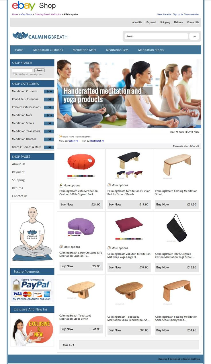 Our Brand New ‪#‎TopShopDesign‬ for ‪#‎CalmingBreathMeditation‬ online Meditation Cushions, Stools & Benches All Meditation Mats items.  Take a look: http://stores.ebay.co.uk/Calming-Breath-Meditation