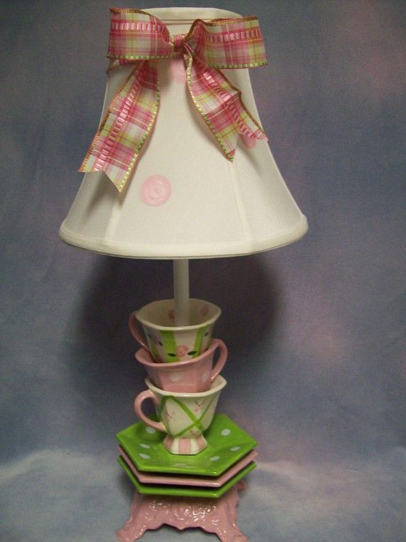 Whimsical Stacked Tipsy Teacups Lamp