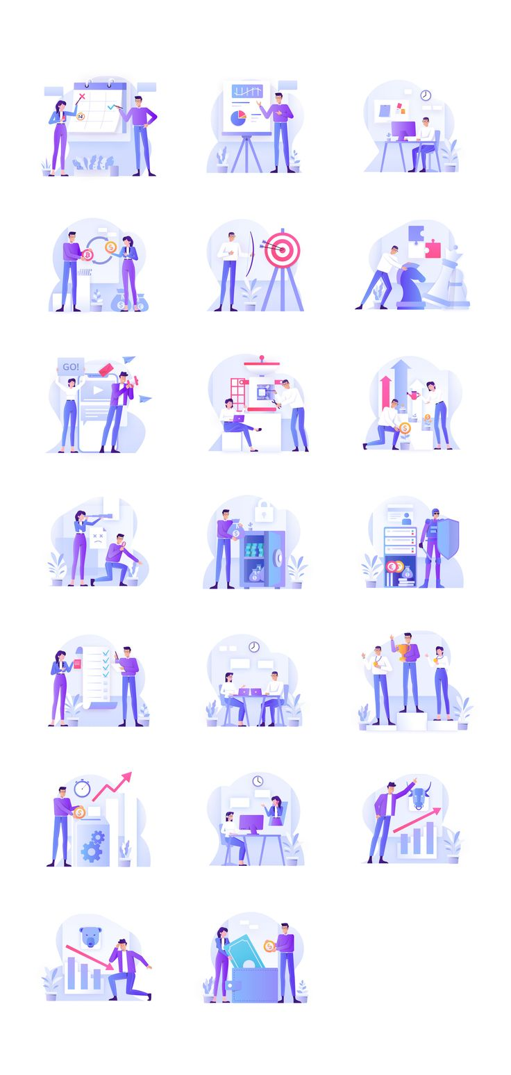Bussines & Investment Illustration Kit in 2020 Graphic