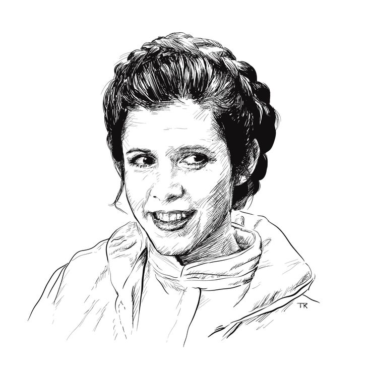 ••RIP StarWars Carrie Fisher•• (1956 Oct 21 - 2016-Dec 27 @60 due cardiac arrest on airplane) • Princess Leia sketch by Tom Ralston @tomralston (via ello - the anti-FB social network, alongside Minds.com ; )