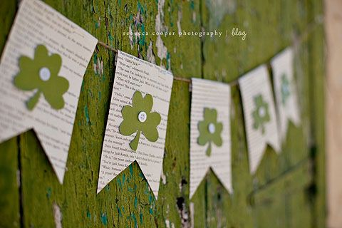 St. Patrick's Day Banner: Old Book, Crafts Ideas, Six Sisters, Book Pages, St. Patrick'S Day, Garlands, Stpatrick, St Patrick'S Day, Banners