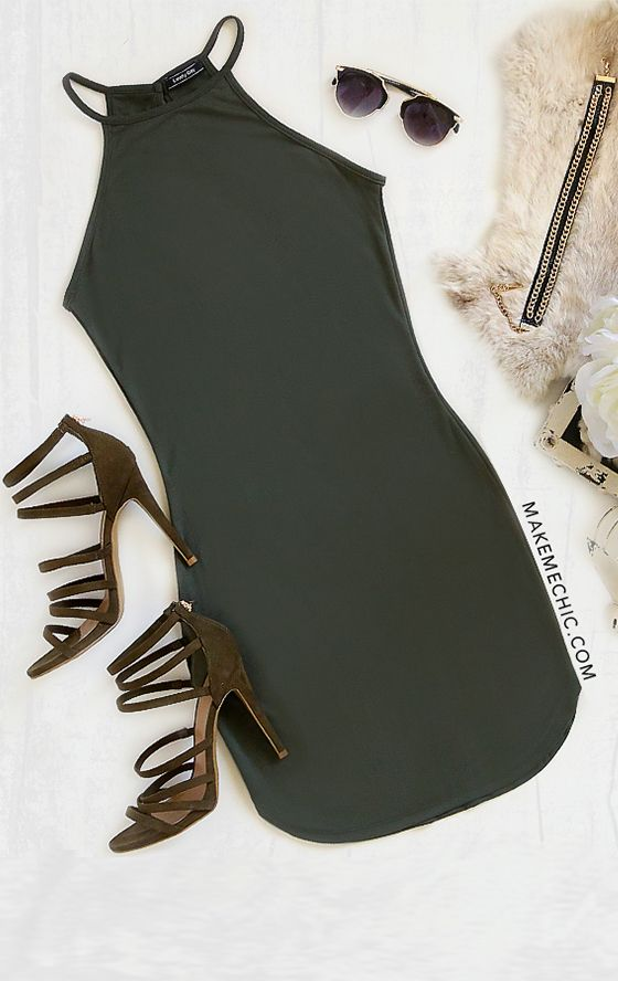 Army Green Sexy Dress