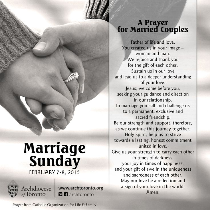 "archtoronto: ""A prayer for married couples as we celebrate Marriage Sunday throughout the Archdiocese of Toronto this weekend! Marriage resources at www.archtoronto.org/marriage """