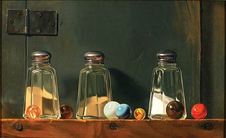 Robert E. Zappalorti, Salt and Pepper and Thalo, 2007, oil on panel, 7 3/4 X 11 3/4 inches