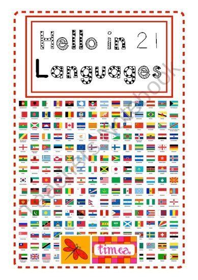 Hello in 21 Languages from One Teachers Journey on TeachersNotebook.com (7 pages)  - This resource has colour matched cards for hello in 21 languages. The card pairs match the greeting with the nationality. Student monitors can select a different greeting to use each day / week