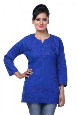 #Short Tops #Lucknow Chikankari Royal Blue Cotton Top by Ada Chikan Price: Rs 799 Buy now: https://goo.gl/bjKC6O #FreeShipping #WorldwideShipping #CashOnDelivery #EasyReturns # Product Code : A91218