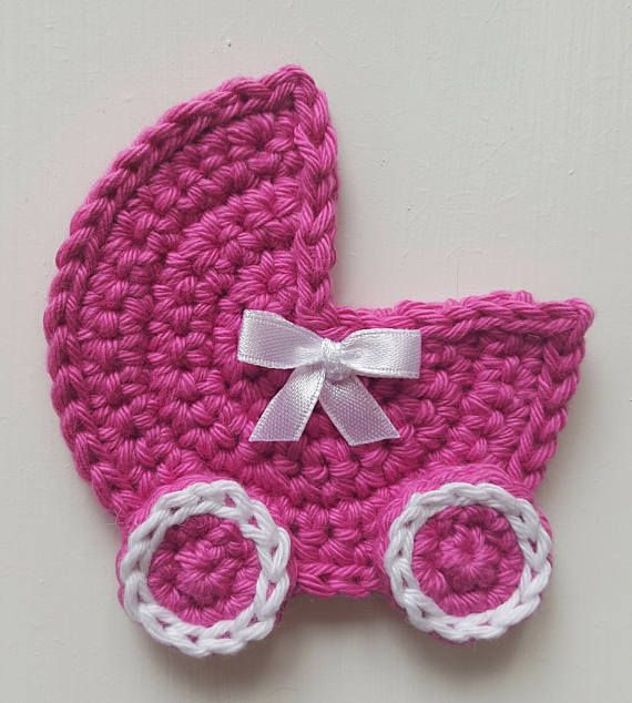 This is a listing for a colourful crochet baby carriage, crocheted by hand in 100% cotton yarn with a small white bow added. The baby carriage measures 7cm/2.75in wide x 7.5cm/3in high.  These baby carriages are ideal to put on greeting cards (like the pale peach carriage on a plain white card) or added to a newborn blanket, as well as scrapbooking and sewing projects.  These little carriages can be made in any colour. Colours and quantities that are Ready-to-ship are listed in the ...