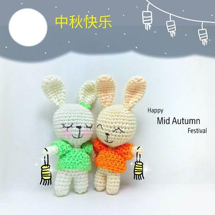 Happy mid autumn festival.. Crochet bunny couple