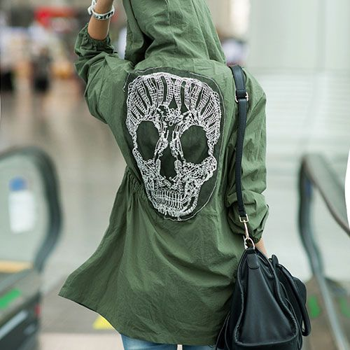 Price:$30.99 Color: Army Green Material: Cotton Blends Leisure Oversize Hooded Lace Skull Spliced Trench Coat