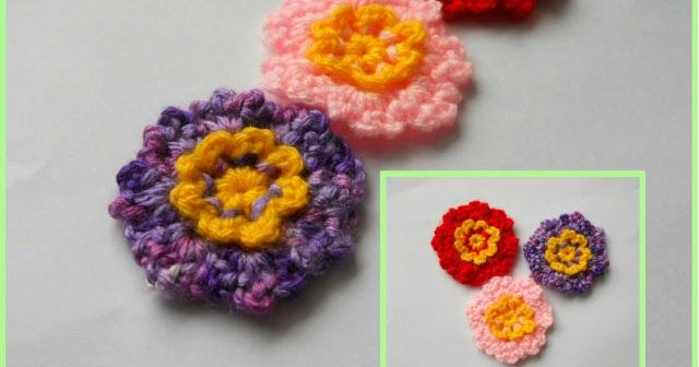 This cute crochet flowers are very easy to make, using only basic crochet stitches such as chain, single crochet and slip stitch.         C...