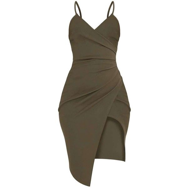 Lauriell Khaki Wrap Front Crepe Midi Dress ($28) ❤ liked on Polyvore featuring dresses, midi dress, crepe fabric dress, wrap front dress, khaki midi dress and midi day dresses