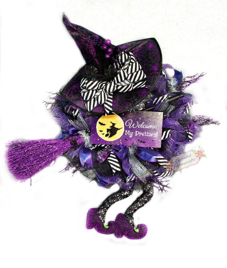 XXL Witch Wreath, Halloween Witch Wreath, Purple Halloween Wreath, Witch Hat with Legs, Witch Mesh Wreath, Halloween Wall Décor by Splendid Homecrafts on Etsy