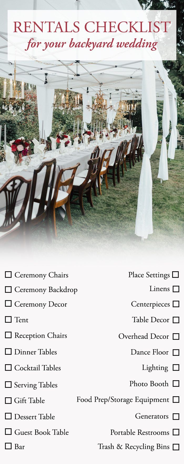 Checklist For Backyard Wedding