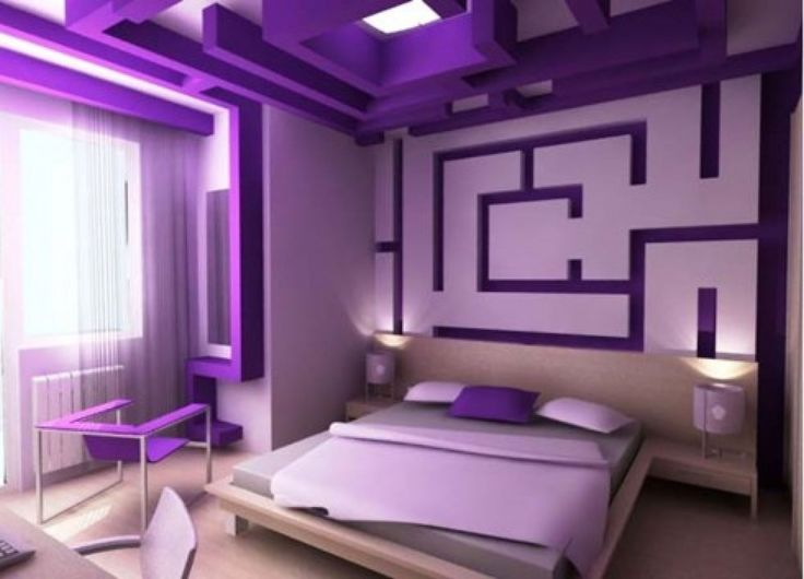 teen room, Purple Small Bedroom Design Ideas With Purple Wall Design With  Purple Unique Ceiling Design For Bedroom Decoration With Cozy Bed And  Pillow With ...