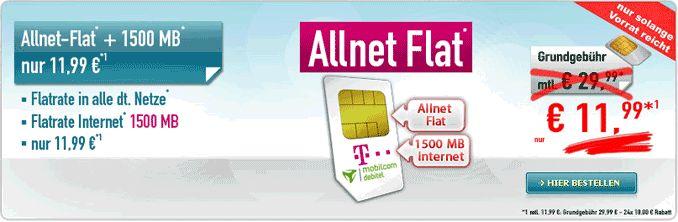 Telekom comfort Allnet Flat mit 1500 MB LTE Internet-Flatrate nur 11,99€ mit Vertrag und erhalten dafür eine Allnet-Gesprächsflat in alle Netze und eine Internet-Flatrate 1,5GB bis 21,6 Mbit/s , ab 1500 MB Drosselung auf GPRS-Geschwindigkeit.