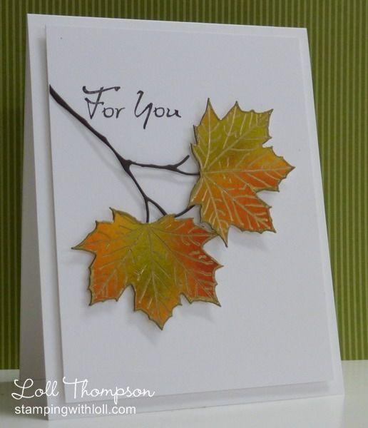 Днем, открытка из кленового листа