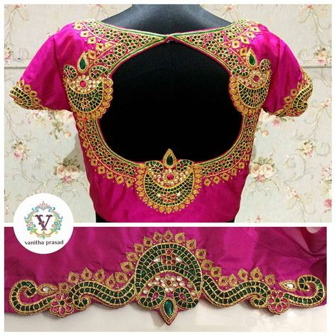 Lovley pink color designer blouse with diya design hand embroidery kundan work from Vanitha. 27 June 2017