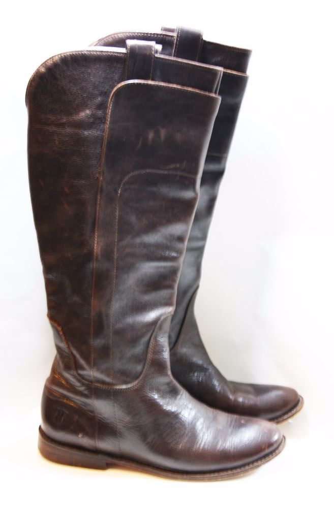 FRYE SHOES PAIGE TALL RIDING BOOTS DARK BROWN LEATHER PULL ON FLAT  7 $388 77535 #FRYE #RidingEquestrian #Casual