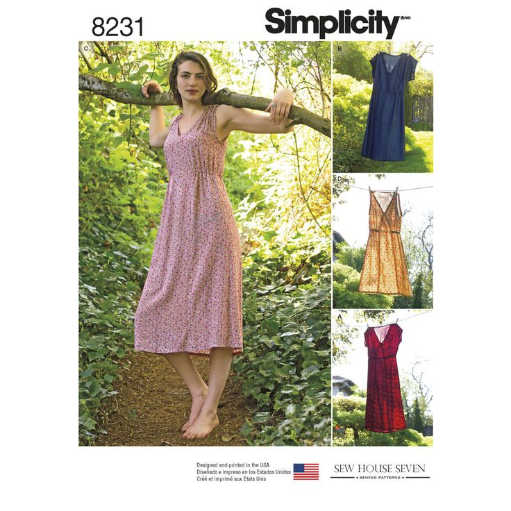 Misses' elastic waist dress from Sew House Seven features V-neckline with option of over-the-knee or midi lengths, and cap sleeve, or sleeveless with shoulder ties. Sew House Seven for Simplicity sewing patterns.