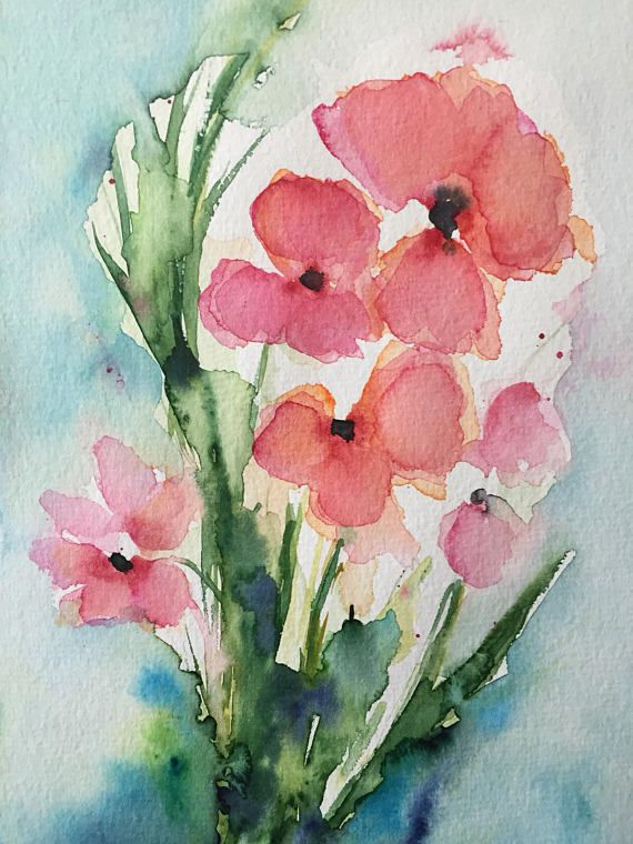 Original Aquarell Aquarellmalerei Blumen Mohnblumen Bild Kunst Art Watercolor Flowers Handmade Watercolor Poppies Watercolor Paintings For Beginners Poppy Art