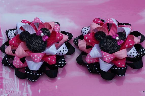 Mickey Love Bow Minnie Mouse Bow Faux Leather Hair Bow Disney Hair Clip Mickey Kissing Minnie 3 14