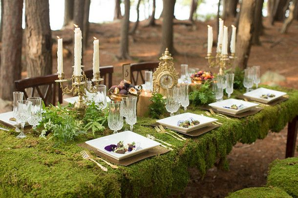 Gold and green glamorous woodland wedding complete with a moss tablecloth!