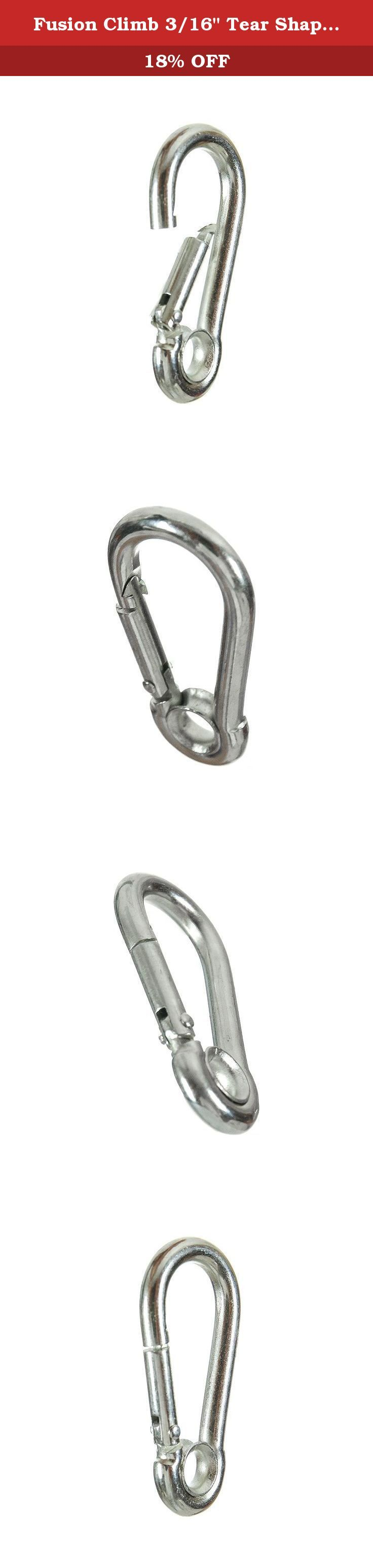"Fusion Climb 3/16"" Tear Shape Stainless Steel Carabine Snap Hook, Silver. Fusion Climb 3/16"" Tear Shape Stainless Steel Carabine Snap Hook Silver - Stainless-steel, tear-shaped, carbine snap hook with a true captive eye and straight non-locking gate. - Available in various sizes and is a great choice for arborist and rescue applications. ."
