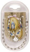 Necklet - Miraculous Medal with Fake Pearl & Crystal Beads.
