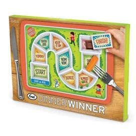 Dinner Winner Kids Dinner Tray makes food fun! The goal is to get to the finish line, where a special covered treat awaits, so even fussy eaters will clean their plate!