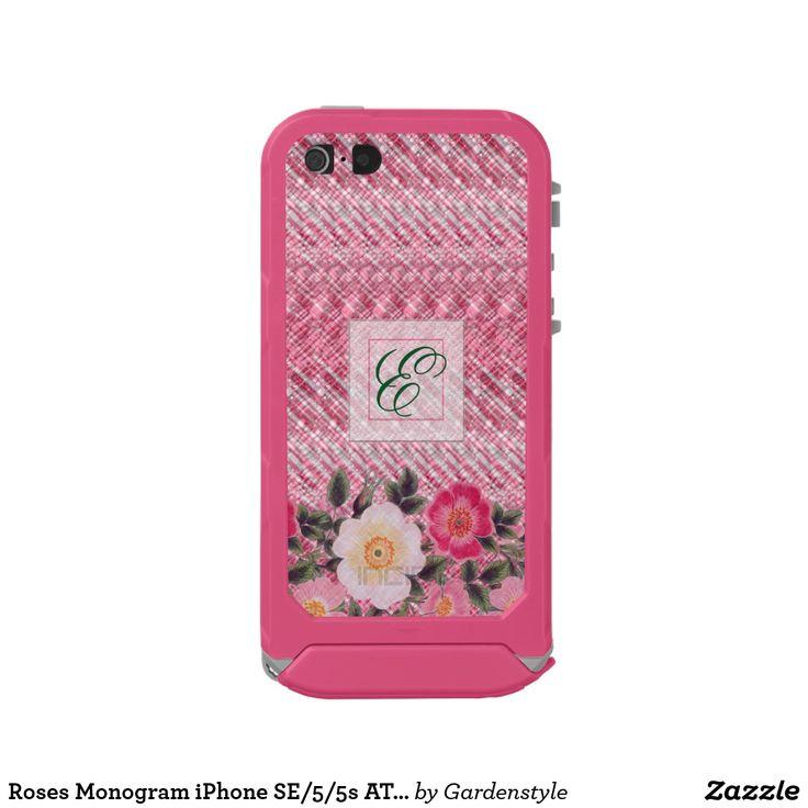 Roses Monogram iPhone SE/5/5s ATLAS ID™, Pink Waterproof Case For iPhone SE/5/5s