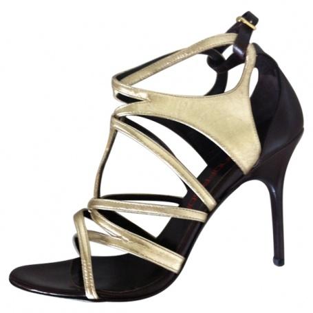Sandale or et choco BRUNO FRISONI Marron taille 40 FR en Cuir http://