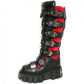 M.151-C1 New Rock Red Patent & Black Leather Studded Tower Boots