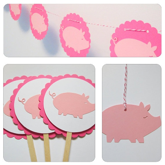 Pink Pig Party Package  1 Banner 10 Tags 3 Table by JessMadeThis, $22.50
