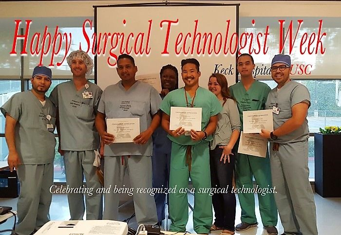 Celebrating and being recognized: Surgical technologists for the main OR, outpatient surgery and GI at USC's Keck Hospital are being awarded a certificate of recognition for  outstanding performance and contribution to the team, the department, the hospital and to our patients. (John Springer) #SurgTechWeek
