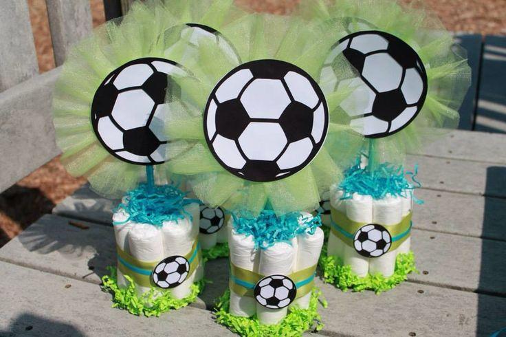 Soccer diaper cakes centerpieces
